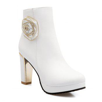 Zipper Chunky Heel Flower Short Boots