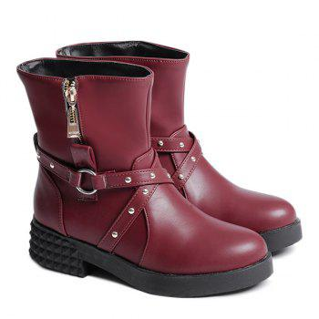 Cross Straps Zipper Short Boots