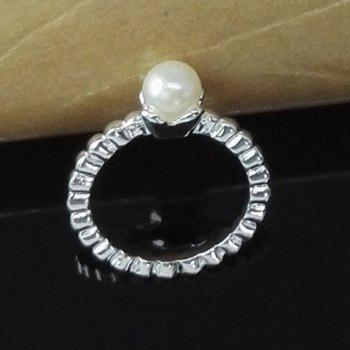 Faux Pearl Braided Ring