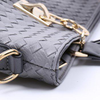Stylish Metallic and Weaving Design Shoulder Bag For Women - GRAY
