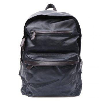 Casual Dark Color and PU Leather Design Men's Backpack