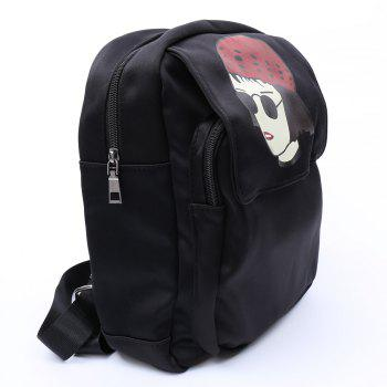 Trendy Magnetic Closure and Girl Pattern Design Women's Backpack - BLACK
