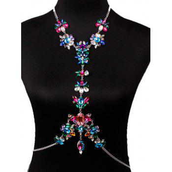 Hollow Out Rhinestone Flower Beach Body Jewelry - COLORFUL COLORFUL