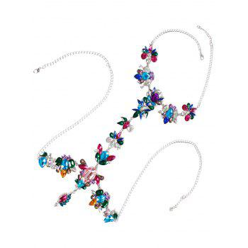 Hollow Out Rhinestone Flower Beach Body Jewelry -  COLORFUL
