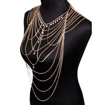 Faux Pearl Pendant Rhinestone Layered Beach Full Body Jewelry -  GOLDEN