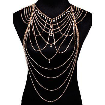 Faux Pearl Pendant Rhinestone Layered Beach Full Body Jewelry - GOLDEN GOLDEN