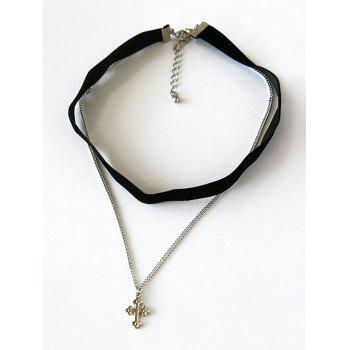 Punk Cross Pendant Double-Deck Chokers
