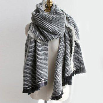 Warm Fringed Edge Weaving Shawl Wrap Scarf - BLACK