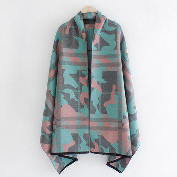 Warm Fringed Edge Camouflage and Plaid Pattern Shawl Pashmina