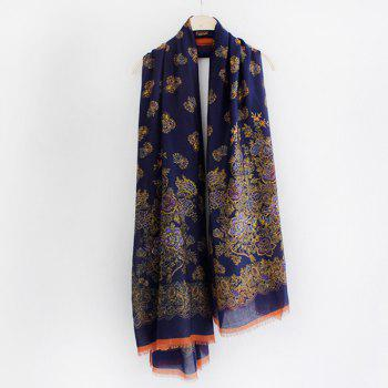 Warm Retro Flowers Pattern Fringed Edge Shawl Scarf