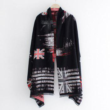Winter Union Flag Stripe Print Fringed Edge Shawl Pashmina