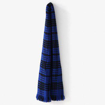 Comfortable Fringed Edge Plaid Design Thicken Scarf -  BLUE