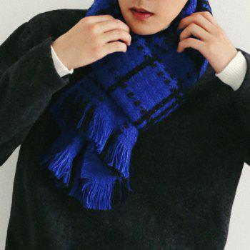 Comfortable Fringed Edge Plaid Design Thicken Scarf - BLUE BLUE