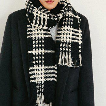 Comfortable Fringed Edge Plaid Design Thicken Scarf - BLACK BLACK