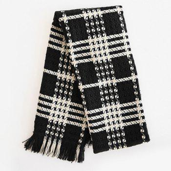 Comfortable Fringed Edge Plaid Design Thicken Scarf -  BLACK