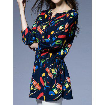 3/4 Sleeve Printed Drawstring Blouse - PURPLISH BLUE L
