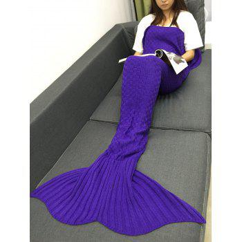 Comfortable Sleeping Bag Sofa Knitting Mermaid Tail Blanket - BLUE VIOLET
