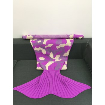 Camouflage Design Sleeping Bag Sofa Knitting Mermaid Blanket - COLORMIX