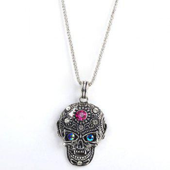 Rhinestone Burnished Big Skull Necklace
