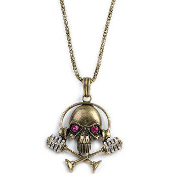 Skull with Microphone Earphone Necklace