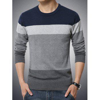 Round Neck Long Sleeve Color Block Spliced Sweater
