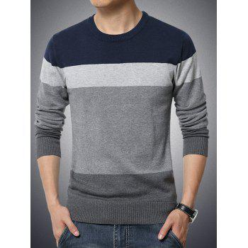 Round Neck Long Sleeve Color Block Spliced Sweater - CADETBLUE L
