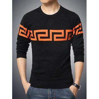 Round Neck Long Sleeve Color Block Geometric Print Sweater