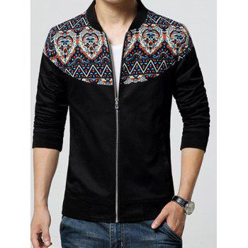 Stand Collar Zip-Up Ethnic Style Print Rib Spliced Jacket