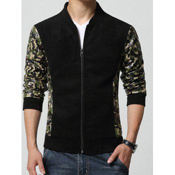 Camouflage Printed Splicing Design Stand Collar Zip-Up Jacket