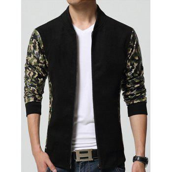 Camouflage Printed Splicing Design Stand Collar Zip-Up Jacket - BLACK M