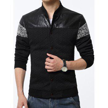 Stand Collar Geometric Emboss PU-Leather and Knited Splicing Jacket