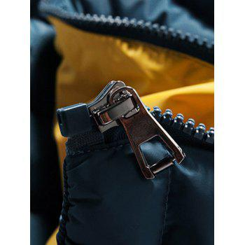 Color Block Zip-Up Hooded Padded Jacket - BLUE L