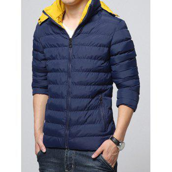 Color Block Zip-Up Hooded Padded Jacket - DEEP BLUE M