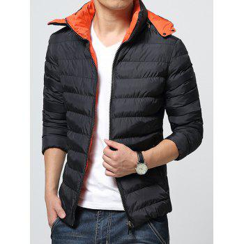 Color Block Zip-Up Hooded Padded Jacket