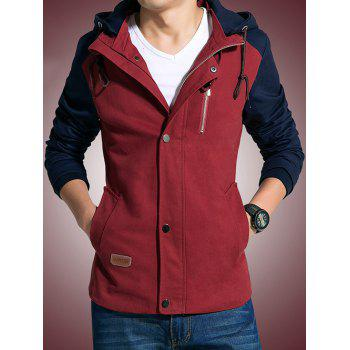 Hooded Zip-Up Drawstring Color Block Jacket - RED L
