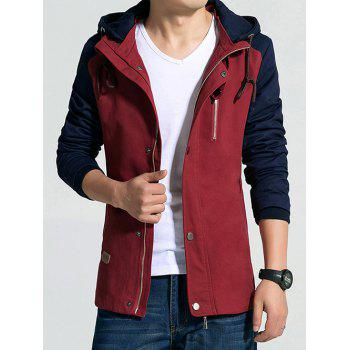 Hooded Zip-Up Drawstring Color Block Jacket