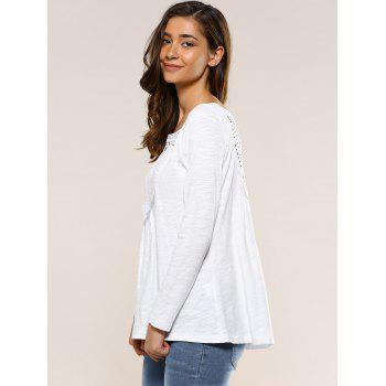 Hollow Out Back Blouse - WHITE S