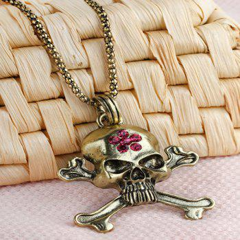 Rhinestone Burnished Floral Skull Necklace - COPPER COLOR