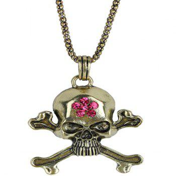 Rhinestone Burnished Floral Skull Necklace