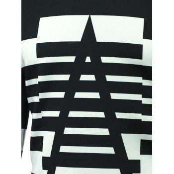 Long Sleeve Striped Round Neck T-Shirt - BLACK M