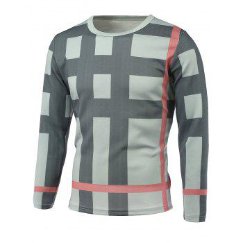 Long Sleeve Plaid Pattern Round Neck T-Shirt - GRAY GRAY