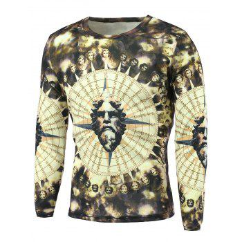 Long Sleeve 3D Figure Print Round Neck T-Shirt