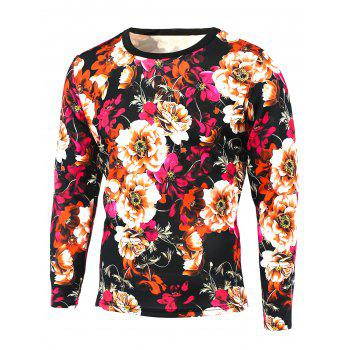 Long Sleeve 3D Floral Print Round Neck T-Shirt