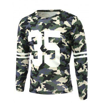 Round Neck Long Sleeve Camo Number Print T-Shirt - CAMOUFLAGE M