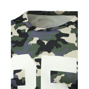 Round Neck Long Sleeve Camo Number Print T-Shirt - M M