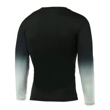 Round Neck Ombre Long Sleeve Letter Print T-Shirt - BLACK BLACK