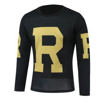 Long Sleeves Letter Printed Round Neck T-Shirt