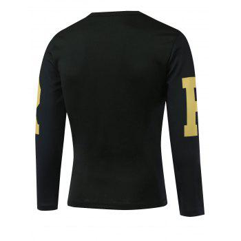 Long Sleeves Letter Printed Round Neck T-Shirt - BLACK BLACK