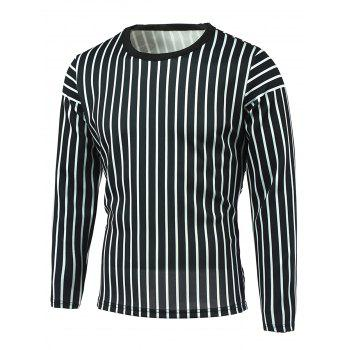 Round Neck Long Sleeve Vertical Striped T-Shirt