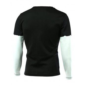Long Sleeve Color Splicing 3D Print T-Shirt - BLACK BLACK